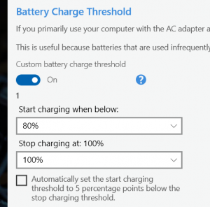 Charging threshold settings in Lenovo Vantage