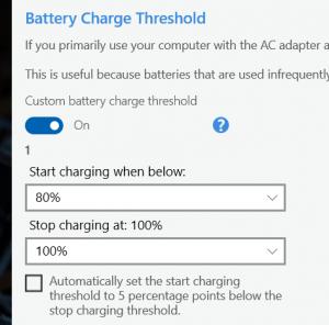 Charging threshold settings in Lenovo Vantage