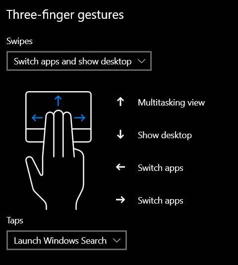ThinkPad Touchpad - Three finger gestures settings